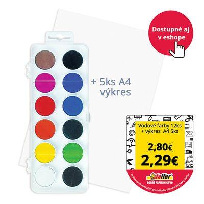 Vodové farby (12 farieb) + A4 výkresy (5ks)